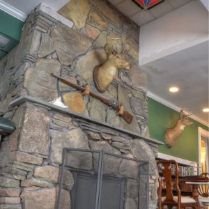 stone fireplace stained glass